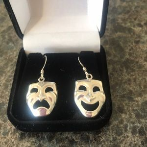 Comedy and tragedy sterling silver earrings.